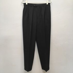 PAUL DIONE DARK GRAY PLEATED CUFFED TROUSER PANTS